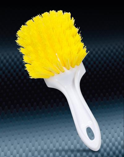 Pro Finish BRUSHES Nylon Yellow Utility Brush Medium Polypropylene Bristle Made In The USA automotive car wash and detailing supplies