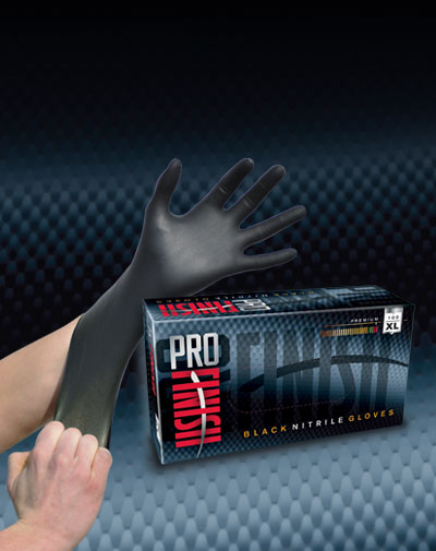 Pro Finish DEALER SUPPLIES Black Nitrile Gloves Industrial Grade automotive car wash and detailing supplies